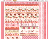 Printable Washi Tape pink & coral roses PDF Bible Journaling or planners, Unlimited washi tape, print over and over!