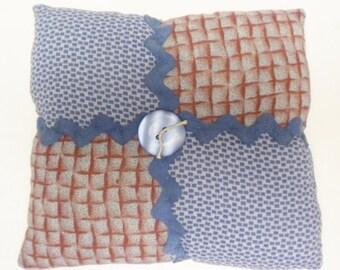 Vintage Quilt Block Accent Pillow, Mini Pillows, Country Farmhouse Decor