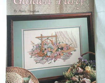 Garden Party Book Fifty-Two By Paula Vaughan Vintage Cross Stitch Pattern, Leisure Arts Leaflet 2452