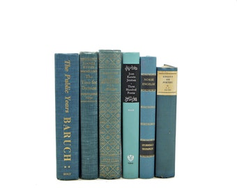 Turquoise BLue Old BOoks,  Decorative Books, Wedding Decor, Table Settings, Antique BOok Collection, Vintage BOok Decor Set Interior Design