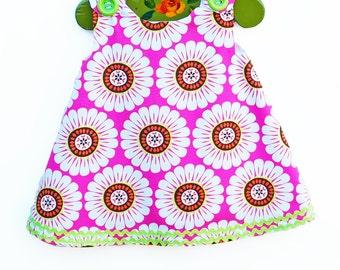 Mod Blossom - Baby Girl - Floral - Girl Dress - Aline Dress - Girls Peasant Dress - Flower - Floral Designs - KK Children Designs - 3M to 4T