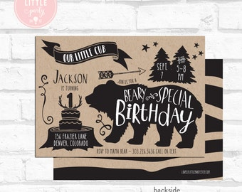 Little Cub, Little Bear Birthday Invitation Kit - Invite AND Thank You Card included
