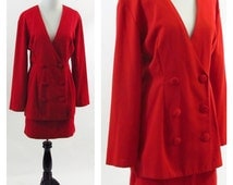 Vintage 1980s Red Power Suit - Double Breasted Suit with Mini Skirt - Rockin  Red Cotton Suit - Vintage Professional Suit-  Small / Xsmall