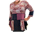 Asymmetric Tunic, Upcycled Tunic, Marsala Tunic, Upcycled Clothing, OOAK Large Tunic, Handmade Tunic, Boho Fashion, SALE - 25% Off