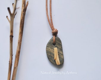 River stone jewelry - unique necklace - natural - zen