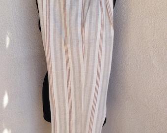 Vintage high waist Byblos linen stripe beige pants pockets sz 40 or 6