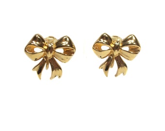 vintage gold bow earrings / Sarah Coventry / clip on earrings / holiday festive jewelry / women's vintage earrings / vintage jewelry