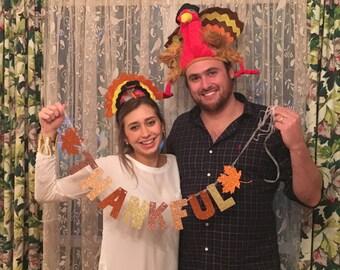 Large Thankful Banner -- Glitter Banner / Thanksgiving Decoration /  Photo Prop