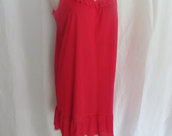 Vintage 60s womens nightgown, red lace nightgown, sexy nightwear