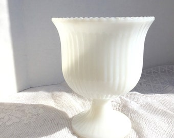 Home Decor Vintage Milk Glass Vase E.O. Brody Planter