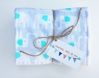 SALE Elephant Grey Aqua Burp Cloths, Gender Neutral Baby Shower Gift Boy or Girl, Free Shipping Set of 2, Gray and Blue Elephants Clearance