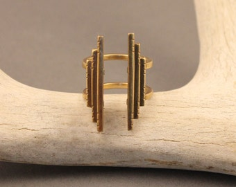 Sanctuary brass native-deco inspired adjustable ring