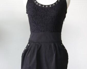 Grommet Tape Little Black Dress