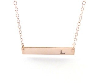 Initial Gold Bar Necklace Birthday Gift Monogram NecklaceInitial necklace Hand Stamped Jewelry Personalized gifts