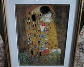 Vintage The Kiss Print by Gustav Klimt Gold Frame Ready to Hang Professional Frame Matt Retro Art Print The Kiss