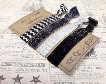 Hair Ties Glitter Hair Bands / Black and Silver Elastic Hair Band Set /4 Set Hair Ties/ No Crease Hair Tie/ Hair Tie Set /Hair Band Bracelet