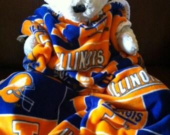 Illinois Illini NCAA Football Fleece Sports Baby Blanket