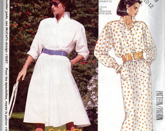 "Easy 1980 Women's Shirt-Dress Pattern - Size 8, Bust 31 1/2"" - McCall's 2466"