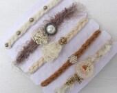 5 Tieback headbands set~Grab bag~Photo props~Tan set~Fall props~Autumn photography prop~Photography prop~Photography items~Organic set