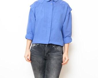 Vintage blue women 80s blouse