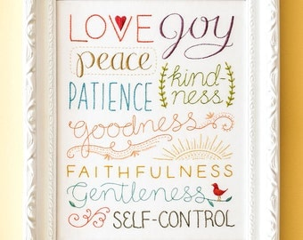 Fruit of the Spirit - Embroidery Pattern - Encouraging Home Decor - Wedding Housewarming Gift