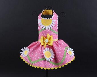SPRING:  Pink Daisy Dog Dress