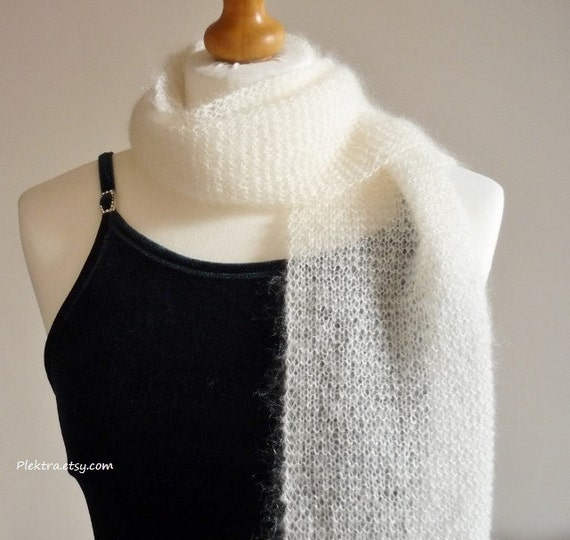 Bridal ivory shoulder wrap - Knitted mohair shrug - Bride to be gift - Informal wedding scarf