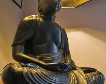 Vintage Buddha lamp Marbro Sculptural figural bronzed mid century tibet asia buddhism