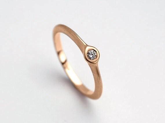 Rose Gold Diamond Engagement Ring | Delicate Engagement Ring, Delicate Diamond Ring, Solid Gold Rose 18k 14k, Solitaire Ring Slim Stack Ring