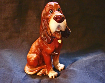 Vintage Walt Disney Figurine Lady and the Tramp Trusty the Dog Bloodhound Walt Disney Productions