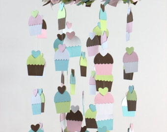 Cupcake Nursery Mobile- Nursery Decor, Photography Prop, Baby Shower Gift