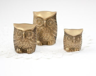 Set of Brass Owls
