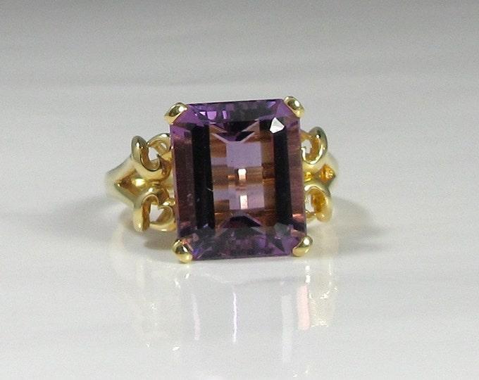 Amethyst Ring; Amethyst Estate Ring; Emerald Cut Amethyst; Yellow Gold Amethyst Ring; Right Hand Ring; February Birthstone Ring; Birthstone