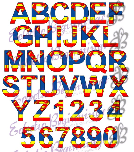 Alphabet And Numbers PNG Digital File Diy Print Clip Art Superhero