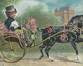 Mail by Hackney - Antique 1900s European Unsigned Horse and Carriage Art Postcard