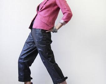 Vintage waxed brown heavy leather wide leg crop capris culotte pants XL