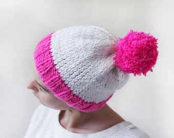 Vintage neon pink white color block pom pom winter beanie ski hat