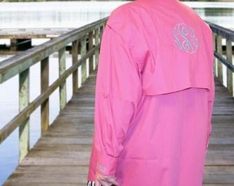57a60a6058610 Monogram Fishing Shirts, Monogram Beach Cover Up, Beach Fishing Shirt