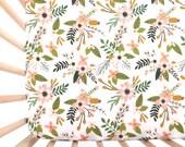 Crib Sheet Blush Sprigs and Blooms. Fitted Crib Sheet. Baby Bedding. Crib Bedding. Minky Crib Sheet. Crib Sheets. Floral Crib Sheet.