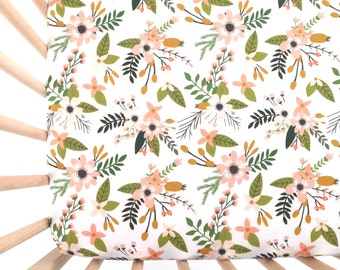 Crib Sheet Blush Sprigs and Blooms. Fitted Crib Sheet. Baby Bedding. Crib Bedding. Minky Crib Sheet. Crib Sheets. Floral Crib Sheet.