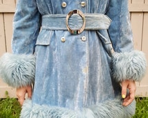 BABY BLUE Penny Lane Coat // Vintage Faux FUR Belted Jacket 60's Hippie  Size S/M Winter Outerwear Rocker 90's Groupie Concert Festival