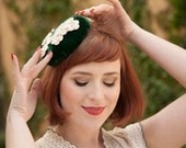 Irish Blossoms -- Retro Style Pillbox Fascinator of Vintage 1960s Green Velvet with Vintage Crochet Flowers and Pearls