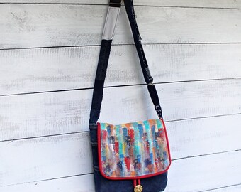 Painted Purse Crossbody Messenger Bag Upcycled Denim and Suede Handmade Unique