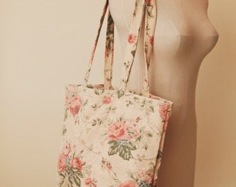 Handmade Cabbage Rose Floral Washable Cotton Travel Tote- Market or Grocery Bag-Laptop-Purse-Gift Bag-Free Shipping in USA