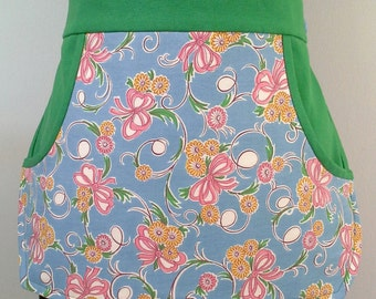 Clothespin Apron / Half Apron - Vintage ribbon and floral fabric with green accents