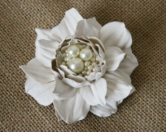 Ivory Rose Flower Brooch