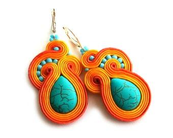 soutache earrings - orange turquoise earrings - birthday gift for wife - statement earrings - lightweight earrings bridesmaids gift jewelry
