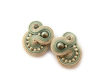 Soutache earrings - Clip on earrings - Post earrings - birthday gift for wife - christmas gift for sister - anniversary gift for girlfriend