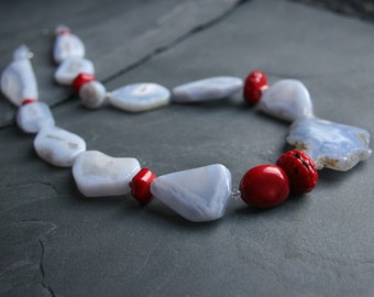 Blue Lace Agate and red Coral Gemstone necklace