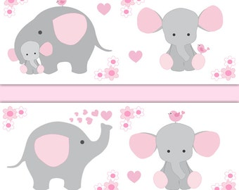 Wall stickers home wall stickers animal wall stickers giraffe wall - Pink Gray Elephant Etsy